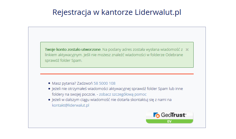 Potwierdzenie płatności Liderwalut.pl