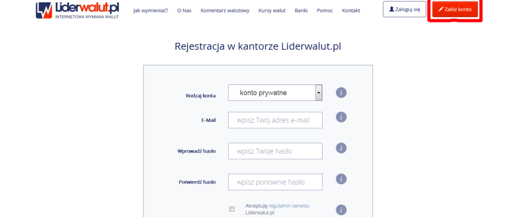 Rejestracja na Liderwalut.pl