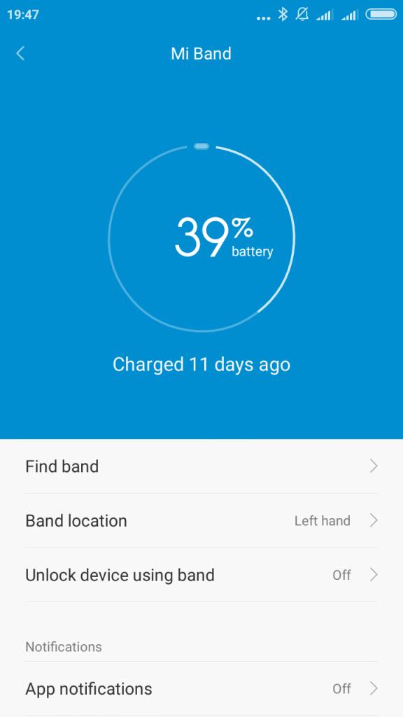 Xiaomi Mi Band 1S bateria