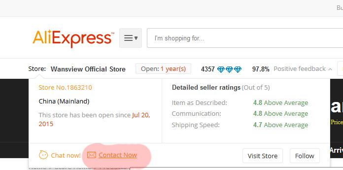 Kontakt ze sprzedającym Aliexpress