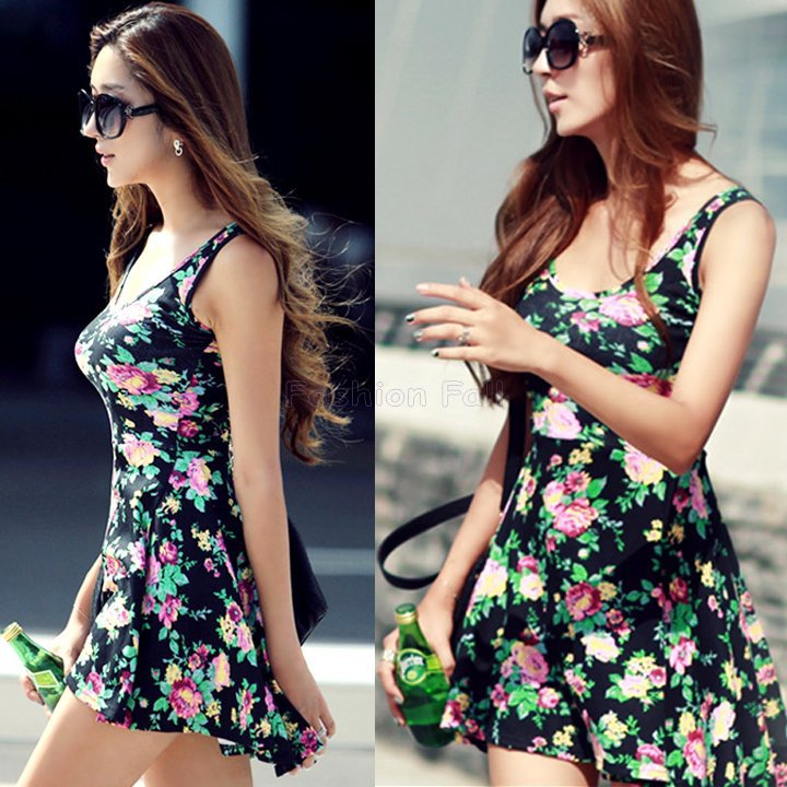 New-Fashion-Women-Mini-Dresses-Rural-Style-Womens-Floral-Sleeveless-Summe
