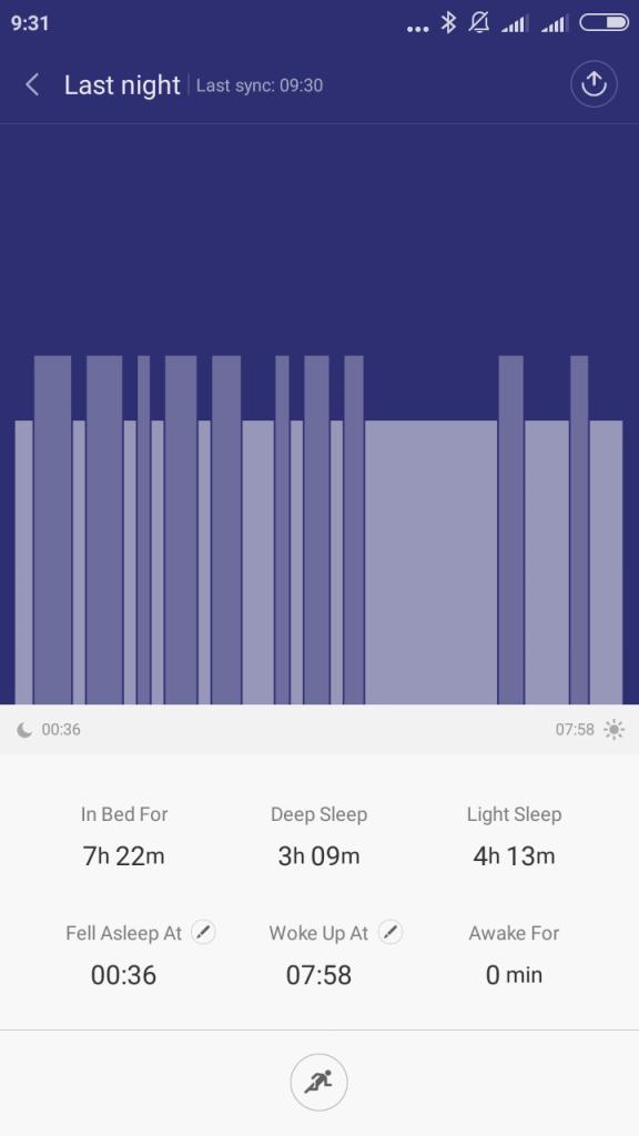 Śledzenie snu Xiaomi Mi Band