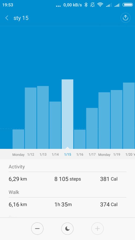 Pomiar kroków Xiaomi Mi Band